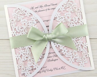 SAMPLE * Butterfly Laser Cut Wedding Invitation with Bow
