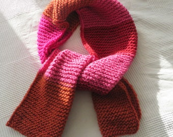 CLEARANCE/ Very Soft&Warm Scarf/ Pure Wool/ Oversize/ XXL/ Hand Knitted/ Hot/ Red/Pink/Orange