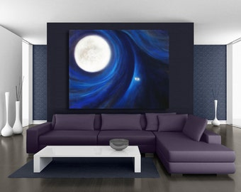 OVERSIZED print full moon canvas mystical art of pastel painting in navy blue, black & ivory by Kauai, Hawaii artist Donia Lilly: Moon Dog