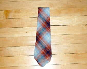 Vintage 1970s Blue and Rust Wool Plaid Tie w/ Fringe Edge - Made in The Amanas