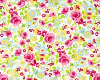 Floral Flannel, Floral Fabric By The Yard, Fabric BTY,  Craft Fabric, Quilting Fabric, Flannel Fabric, Strawberry Patch, Baby Fabric