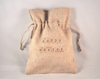 1 Drawstring Easter Gift Bag - Natural Linen Cotton