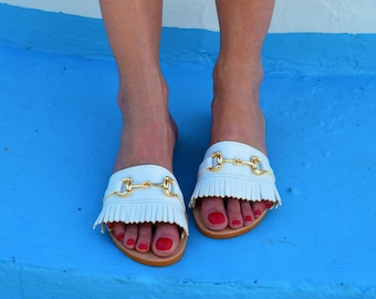 Greek leather sandals, White sandals, Fringed sandals, Greek sandals, Greek Leather slides, Slip on sandals, Summer shoes, Many colors