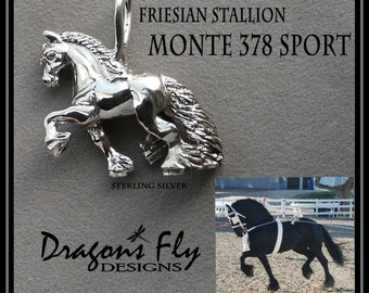 Friesian Jewelry Friesian Horse Pendant for Necklace Friesian Stallion Monte 378 Sport