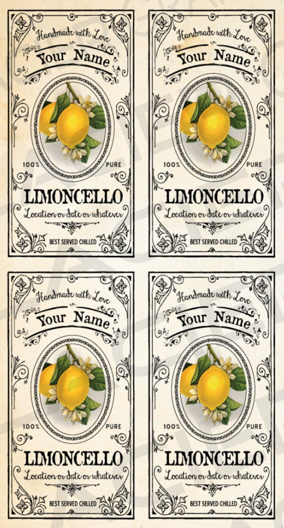 Super CUSTOMIZED Limoncello Labels Limoncello Gift Labels Download RD21
