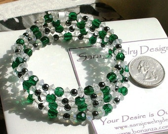 Green and Clear Faceted Crystal and Peacock Round Beads Memory Wire Coil Bracelet