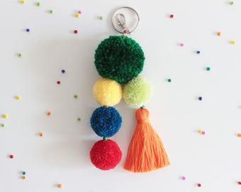 Pom Pom Bag Charm, Pom Pom Keychain, Tassel Keychain, Beach Bag Charm, Handbag Charm, Pompom Keychain, Pom Pom Tassel, Tassel Bag Charm