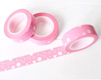 Pink Bubbles Washi Tape. 15mm x 10m. Pink Washi Tape. Pink Craft Supplies. Pretty Washi Tape. Pink Planner Supplies. Masking Tape.