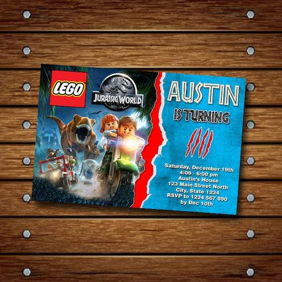 LEGO Jurassic invitación Lego Jurassic Lego de mundo