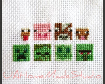Cross Stitch Pattern PDF   Minecraft, Green Set And Farm Set