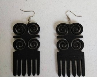 Black Ram's horn Duafe Adinkra African Wooden Earrings Wholesale/ Earrings/ Hand Made Earrings/Women's Earrings/ Afrocentric Earrings