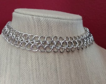 Handcrafted Chainmail Choker/ Anodized Aluminum (Silver)/minimalist/Gothic choker