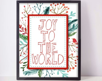 Joy To The World - Christmas Printable - Christmas Gallery Wall Art