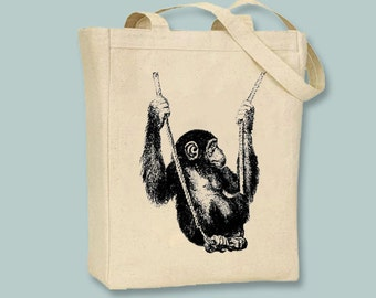 Baby Monkey on Swing Canvas Tote -- Selection of sizes available