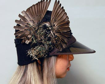 Taxidermy Black Starling Felt CLoche Hat w/Visor and Sequin Embellishment