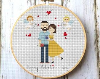 Cross stitch Love Valentines gift for girlfriend, boyfriend Wedding anniversary Gift ideas Personalized Anniversary gift Couple portrait