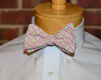 Pink and Green Tattersall Bow Tie~Mens Self Tie Bow Tie~Mens Pre Tied~Anniversary Gift~HoBo Ties~Cotton Bow Tie~Pink and Green Wedding