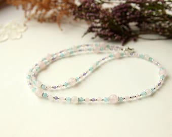 Rose Quartz Necklace, Natural Stone Necklace, Agate Necklace, Gift for Girl, Gift for Women, Natural stone jewellery