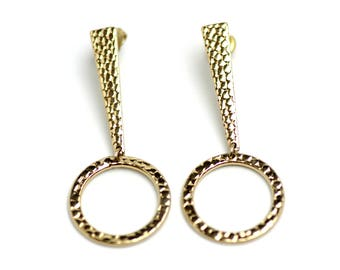 Vintage 1980s Dangle Large Gold Tone Metal Exclamation Point Mod Modern Pierced Earrings