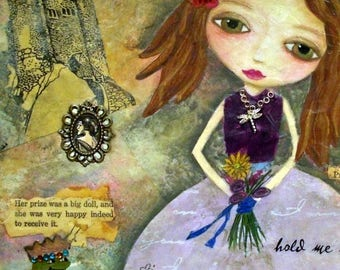 CONTENTMENT, Princess, Girl Big Eyes, Soulful, Passion, mixed media art, children's room, Mixed Media, Art Print, Fantasy, Alicia Hayes Art