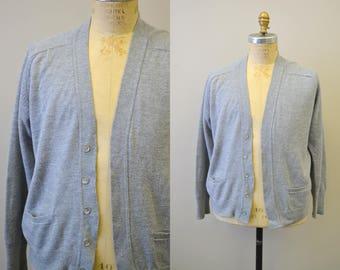1960s Thane Gray Men's Cardigan Sweater