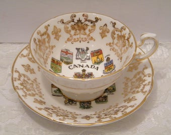 Paragon China Canada Coats of Arms and Emblems Tea Set, Vintage cup and saucer made in England, by Appointment to Her Majesty The Queen,