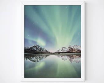 Northern Lights Print, Aurora Borealis Art Print, Northern Lights Poster, Aurora Borealis Wall Art, Mountain Print, Celestial Digital Print