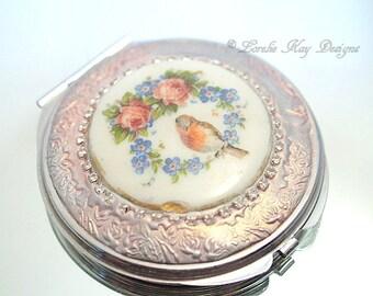 Robins & Roses Mirror Compact Bird Theme Purse Mirror Lorelie Kay Original
