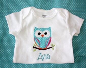 Girls Personalized Chevron Owl onesie or tshirt