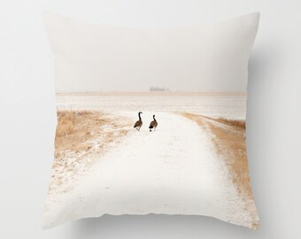 Canadian Geese Pillow Cover, Country Chic Decor, Accent Cushion, Winter Snow, Handmade, 14x14, 16x16, 18x18, 20x20, Romantic Couples Gift