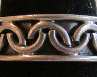 Mexico Sterling Silver Ring with Half Circles Design  Size 12