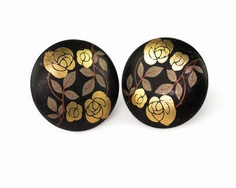 Vintage Gold Roses Button Earrings | Clip On