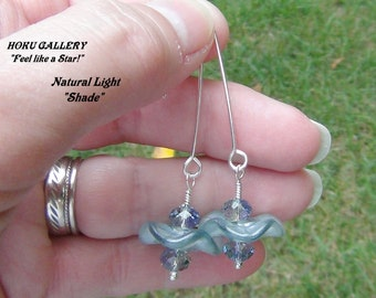"""Lampwork Glass Disks, Swarovski Crystals, Sterling Silver - 2 & 1/4"""" - Earrings - Hand Crafted Artisan Jewelry"""