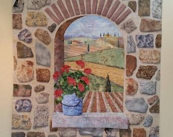 "Large  Landscape quilt- "" Bella Toscana""- Original Art Quilt wall hanging"