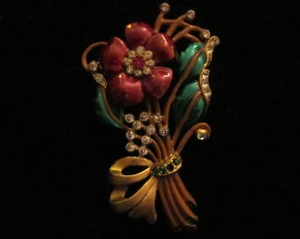 Vintage Enamel Floral Brooch 1940's