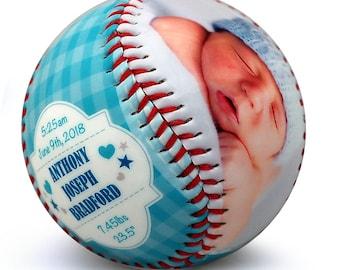 Baby Boy Birth Announcement - Custom Made Baseball, Baby Boy Gift, Newborn Announcement, Baseball Nursery, Newborn Stats, Sports Nursery