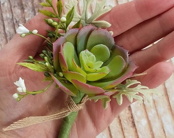 Groom's Succulent Boutonniere with Burgundy