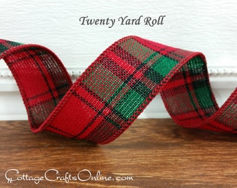 "Christmas Wired Ribbon, 1 1/2"" wide, Red and Green Tartan Plaid - TWENTY YARD ROLL -  ""Lodge"" Xmas Holiday Craft Wire Edged Ribbon"