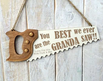 Personalised Fathers Day Gift for Granda - You are the BEST GRANDA I ever SAW Plaque Sign
