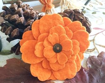Felt Flower, Pumpkin, Flower Brooch, Felt Flower Corsage, Holiday Fashion Flower Jewelry,  Orange Fashion Pin Accessory, Wedding, Boutonnièr