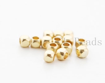 20pcs Matte 16K Gold Plated Spacers - Faceted Round 2mm (494C-T-75)