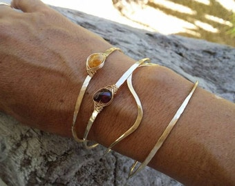 Gemstone Bracelet, Garnet, Stacking Bangle, Sterling Silver, or, 16K Gold Fill, Hammered bangle, Gold Bangle, Silver Bangle, tiny bracelet