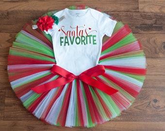 "Santa outfit toddler ""Holly"" Santa outfit girl, baby girl Christmas outfit, Santa's favorite, Christmas tutu outfit, Christmas outfit girl"