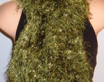Knit Scarf Hand Made Boa Polyester Eyelash Plush Green
