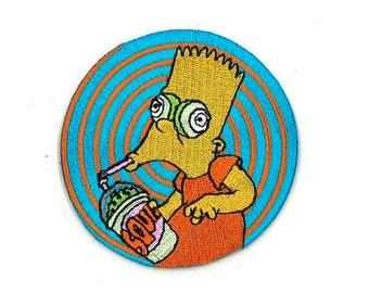 "3"" Bart Squishee Brain Freeze Iron-On / Velcro Patch kwik-E-Mart the Simpsons Futurama Uncle Grandpa Regular Show Adult Swim CN 420 Simpson"