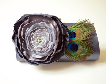 SALE READY To SHIP ~ Charcoal Gray Peacock Feather Clutch ~ Bridal Clutch Bridesmaid Clutch ~ Ombre Flower Gray to Silver