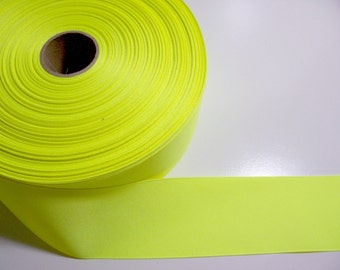 Wide Yellow Ribbon, Fluorescent Yellow Grosgrain Ribbon 2 1/4 inches wide x 10 yards
