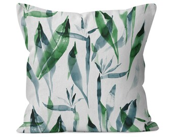 Watercolor Tropical emerald cotton twill decorative throw pillow - custom made for home decor, nursery, kids room or a housewarming gift