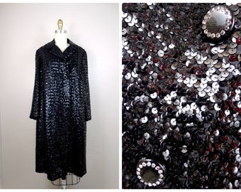 60's Fully Sequined Black Coat // Heavily Sequin Embellished Evening Jacket Large XL