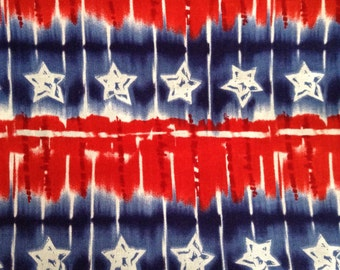 SALE - One Half Yard of Fabric Material - Red, White and Blue StarsTie Dye